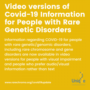 Video versions of Covid-19 Information for People with Rare Genetic Disorders